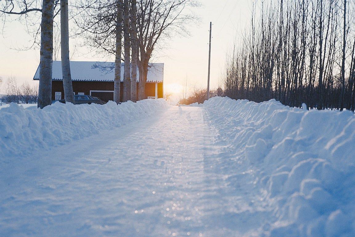 allée remplie de neige avec maison et rayon du soleil