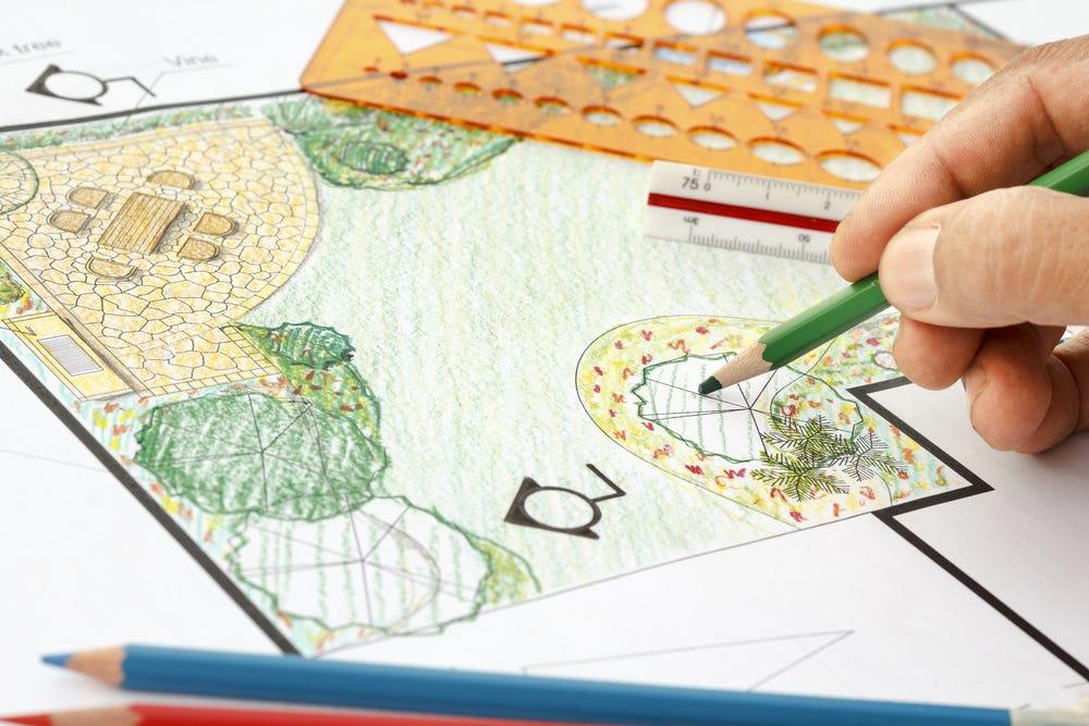 Dessin plan d'un paysagiste pour créer son jardin