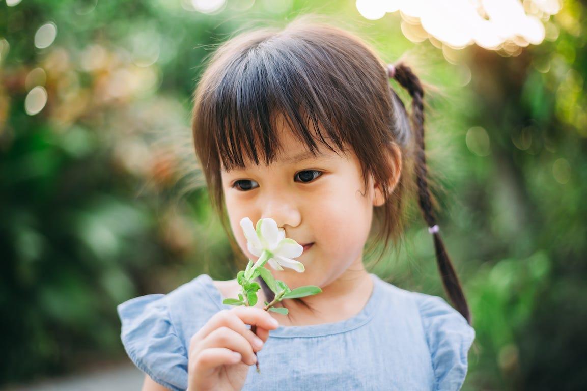 enfant en train de sentir une fleur dans un jardin