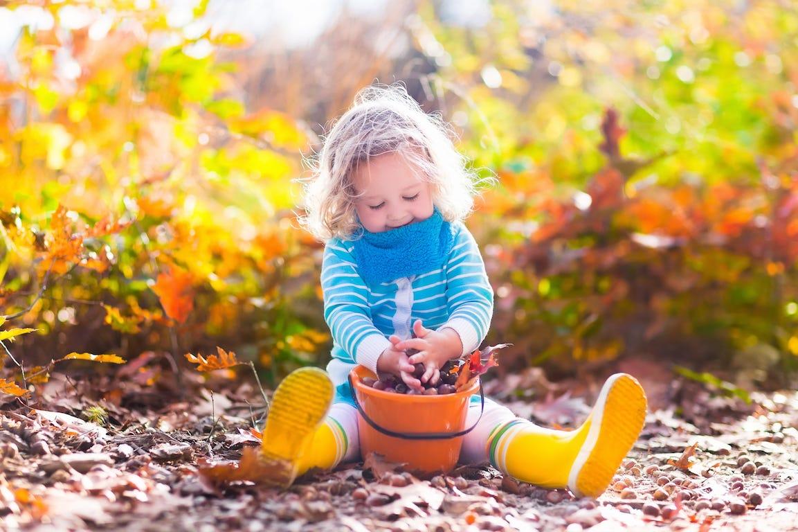 enfant joue dans le jardin avec un sceau