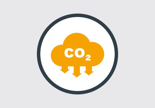 nuvoletta arancione co2 con frecce che mostra emissioni ridotte