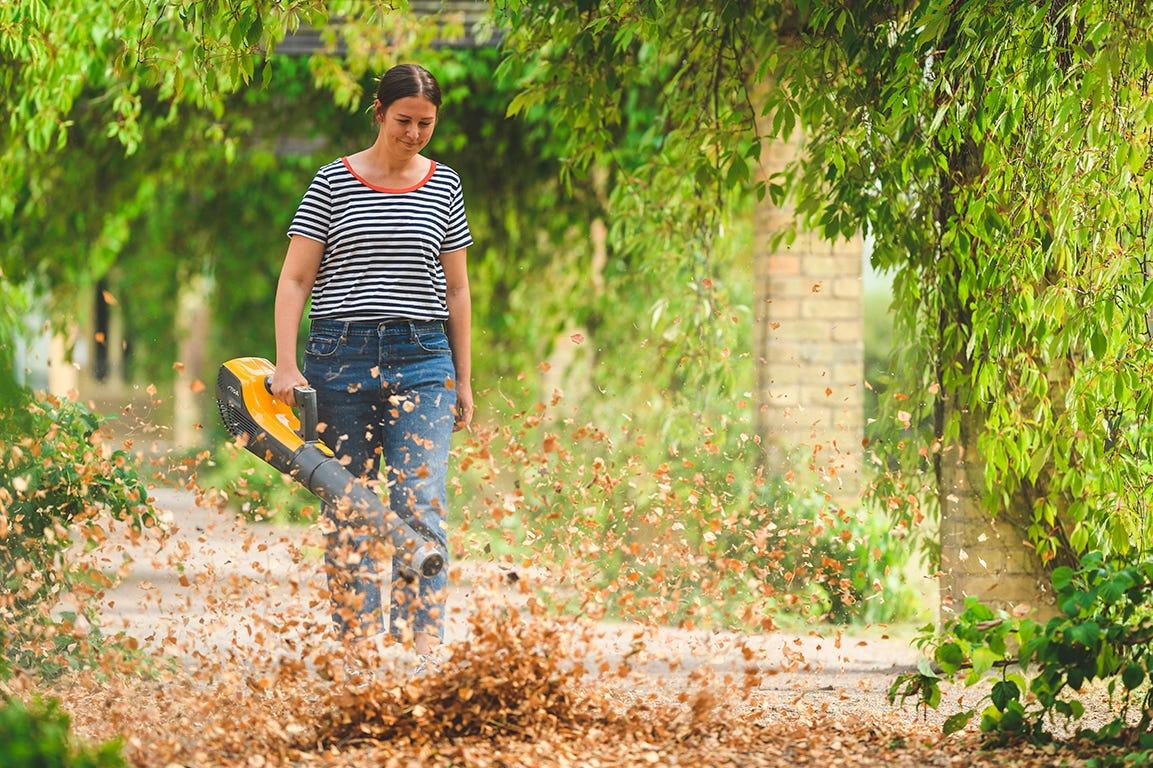 Blæs de visne blade væk med en løvblæser