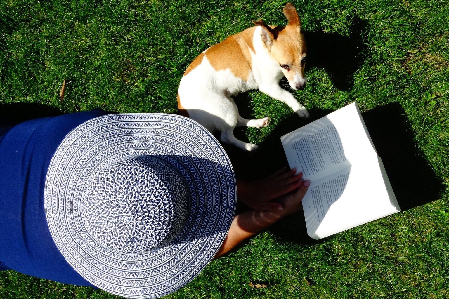 vrouw me tboek en kleine hond liggen in het gras