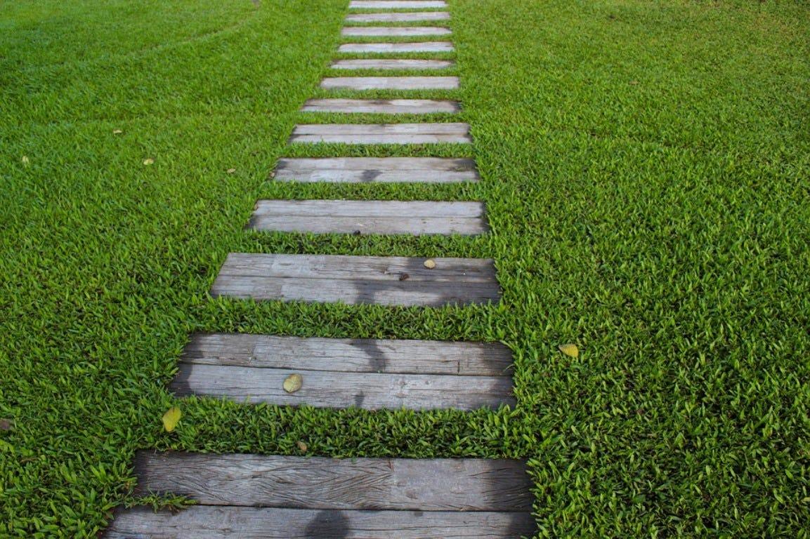gazon wandelpad stapstenen gras