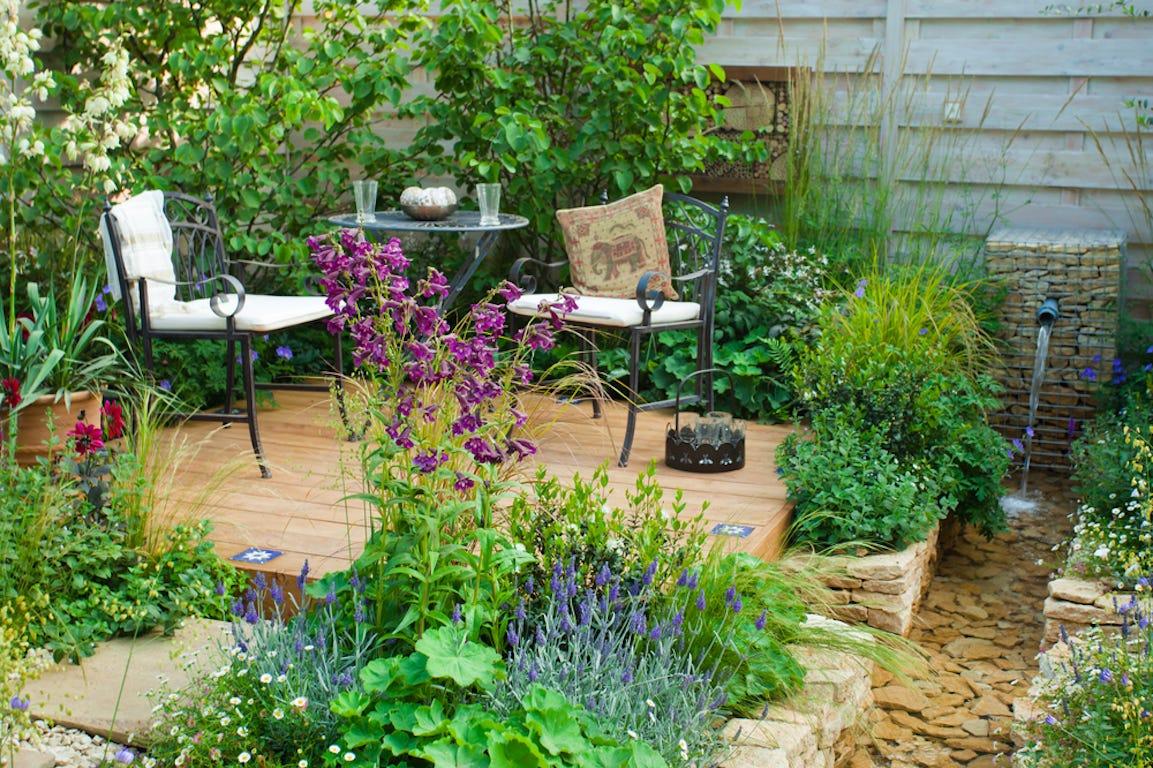 jardin avec terrasse en bois et plante autour