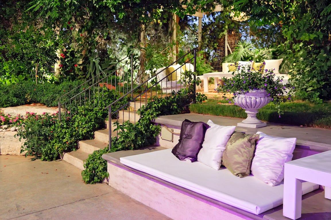salon de jardin de couleur lavande à deux niveaux avec plantations
