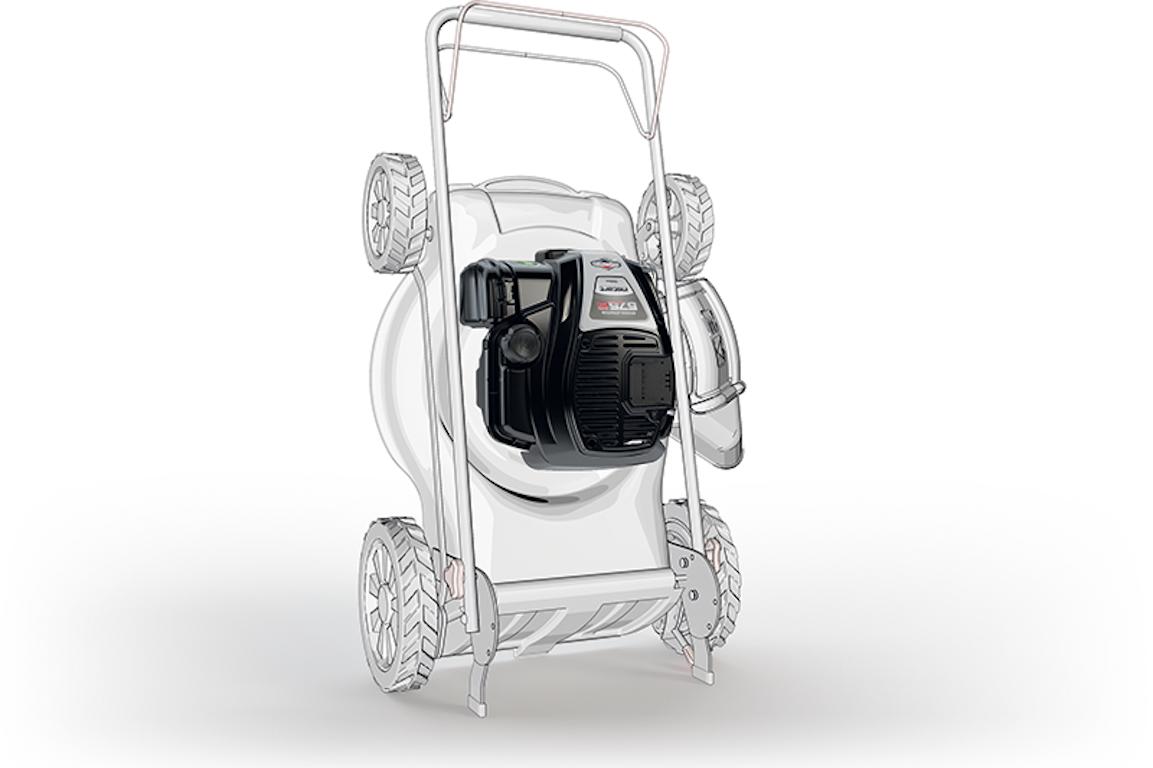 dessin tondeuse rangement debout moteur thermique