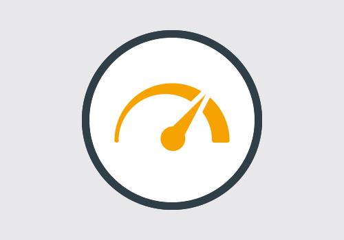 Tachimetro arancione con cerchio grigio che mostra prestazioni superiori