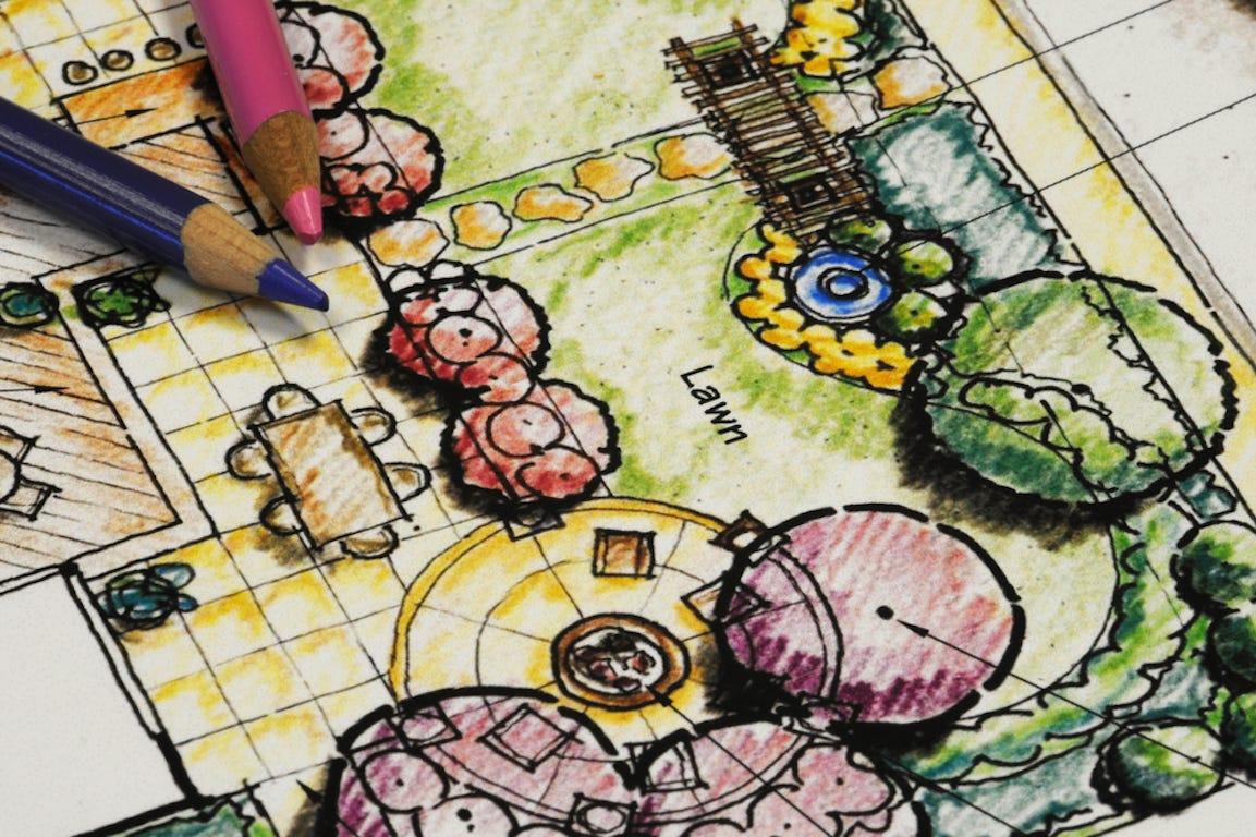 plan de jardin en dessin pour créer son jardin fait par un paysagiste