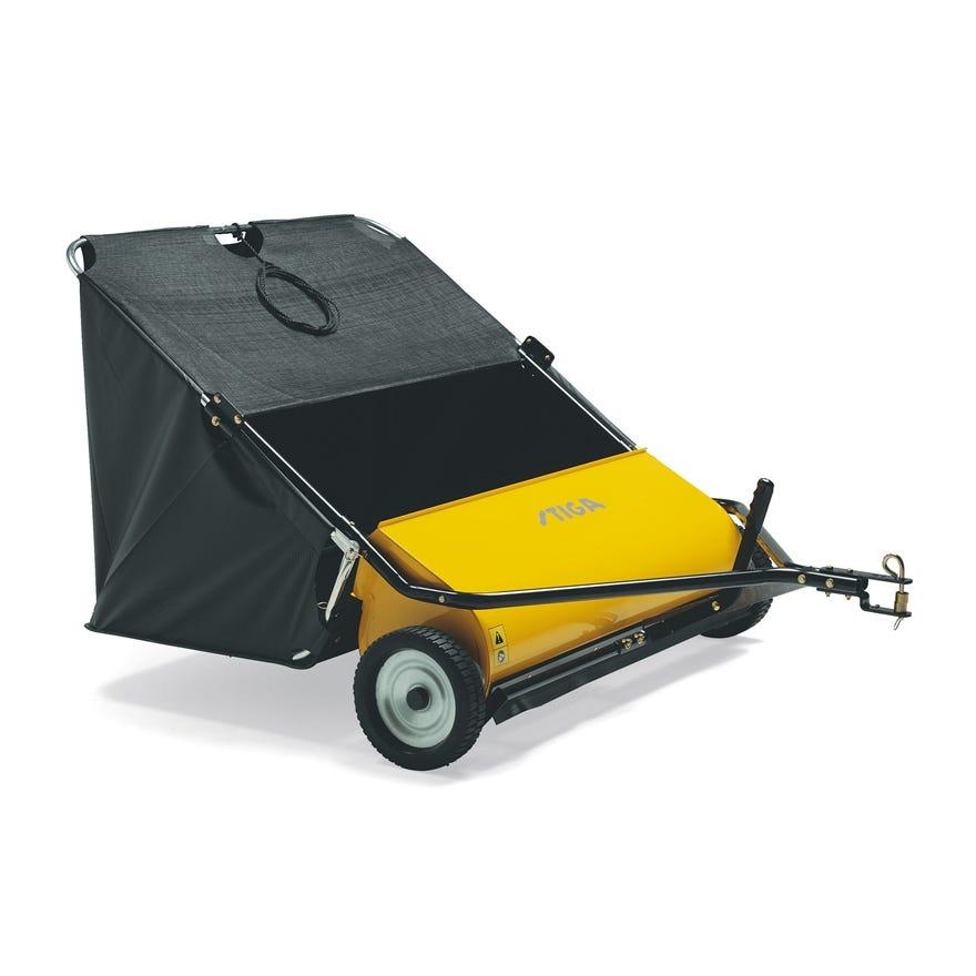 stiga gras en bladveger veegmachine met opvangbak voor frontmaaier