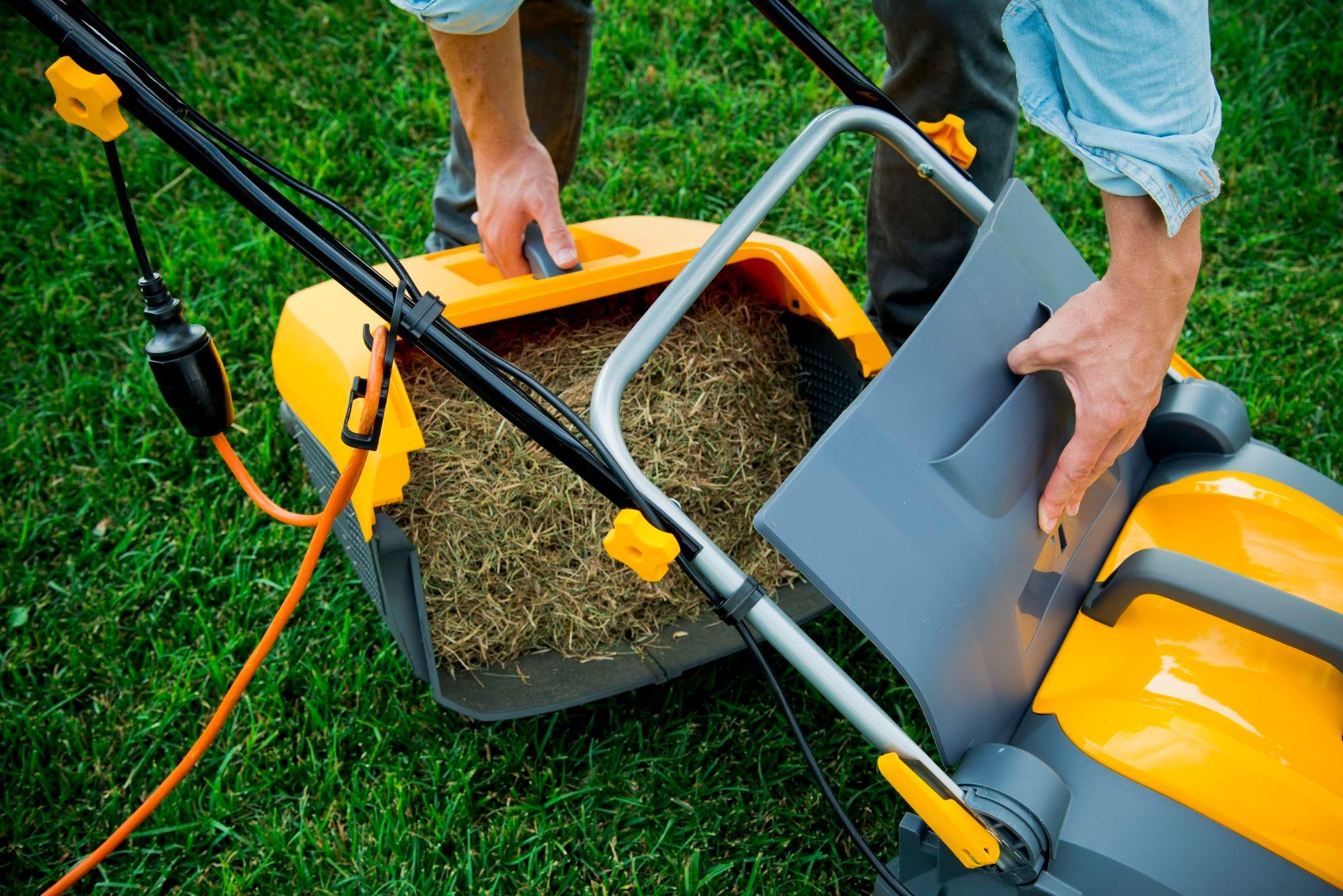 STIGA elektrische verticuteermachine groen gras in de lente moet eerst worden geverticuteerd